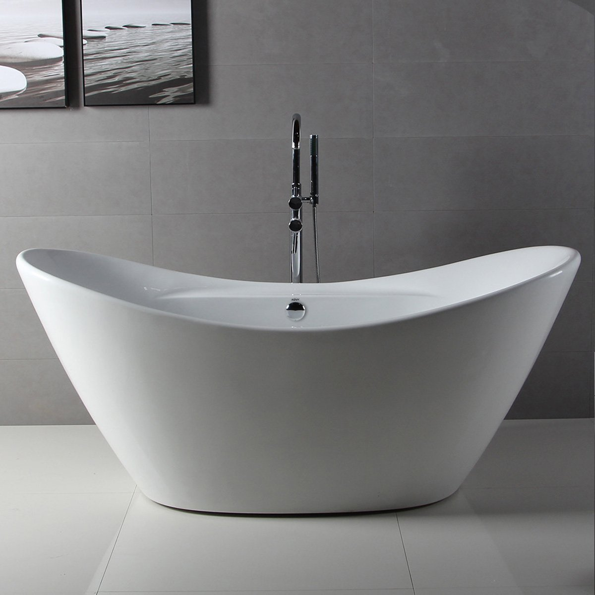 FerdY 68\'\' Acrylic Stand Alone Bathtub, White Modern Freestanding ...