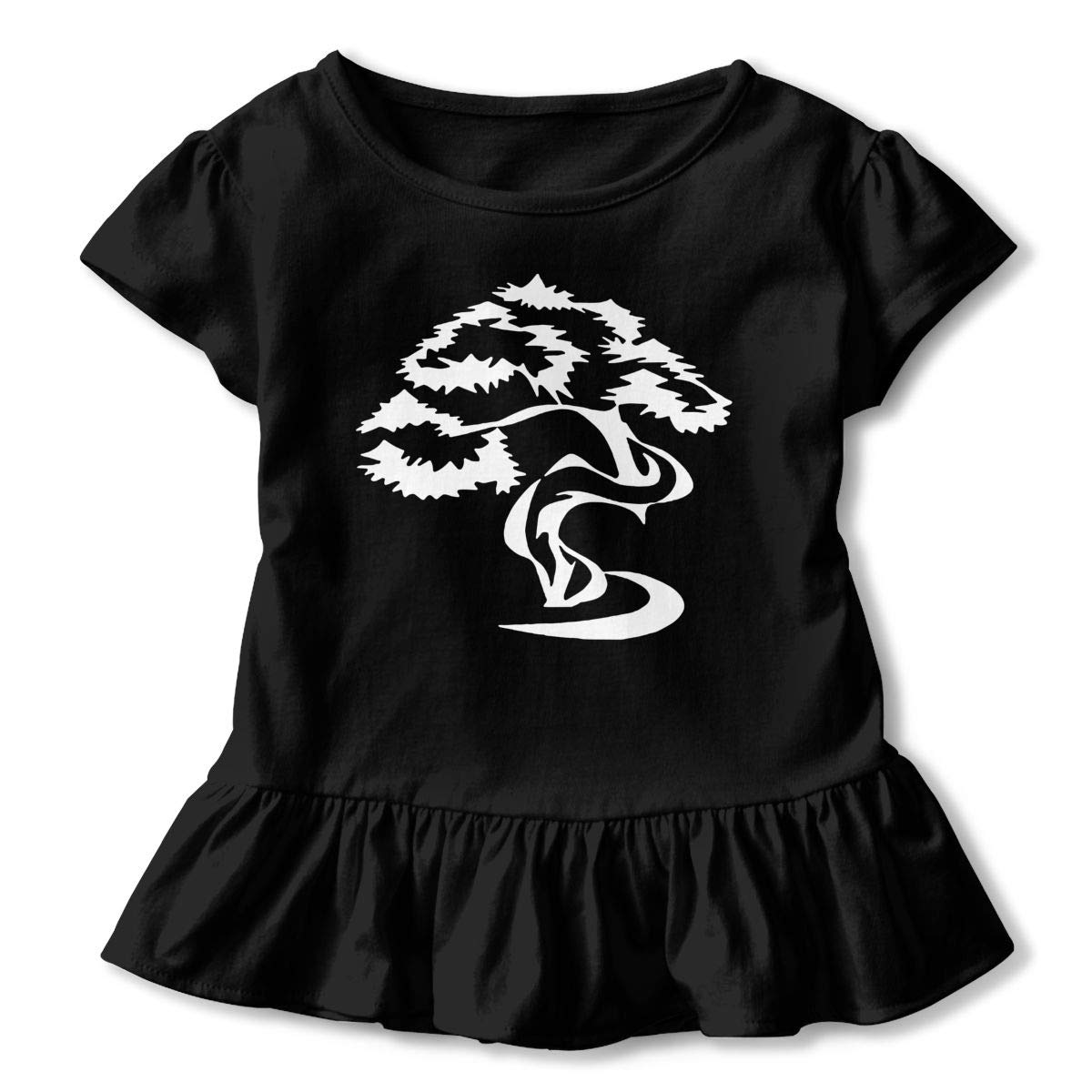 Zi7J9q-0 Short Sleeve Bonsai Tree Shirts for Kids Casual Blouse Clothes with Falbala 2-6T
