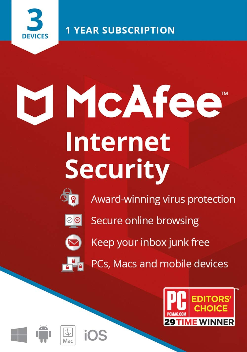 McAfee Internet Security 2020, 3 Device, Antivirus Software, 3 Device Password Protection, 1 Year - Key Card