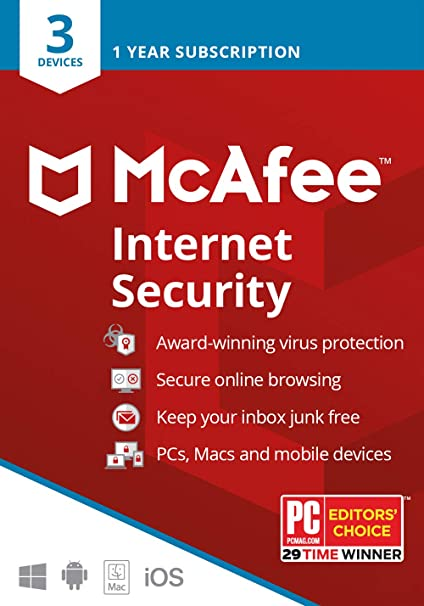 McAfee Internet Security 2019 Anti Virus Software 1 Year Licence 3 Users//PC NEW