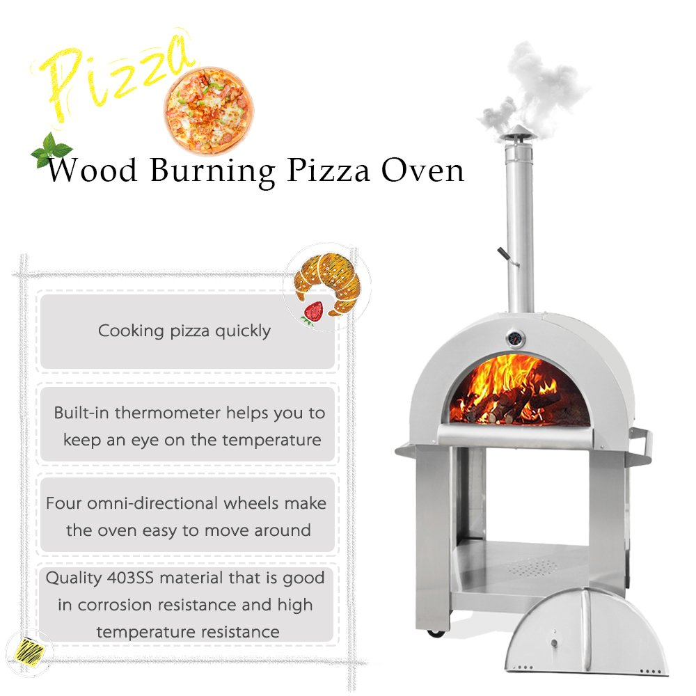 Amazon.com: THOR KITCHEN Stainless Steel Wood Burning Pizza Oven ...