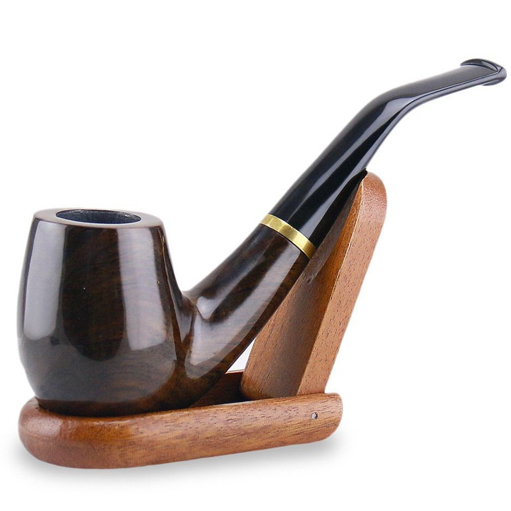 Joyoldelf Wooden tobacco smoking pipe Maigret Black, Smooth, Bent, Hand made + Stand X050