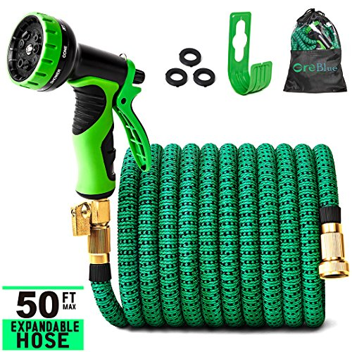 Greblue 50 ft Garden Hose,Lightweight Expandable Garden Water Hose with 3/4 inch Solid Brass Fittings,Expanding Garden Hoses 9 Function Spray Nozzle,Durable Outdoor Gardening Flexible Hose for Yard