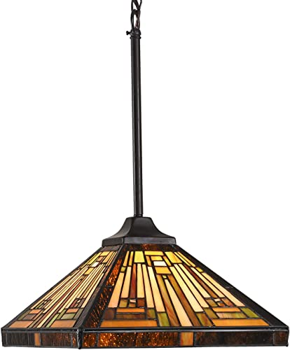 Capulina Tiffany Ceiling Pendant Light 12 inch Classical Stained Glass Mission Style Lampshade Antique Hanging Fixture 1 Light for Dining Room Living Room Coffee Shop Restaurant CL128801CP