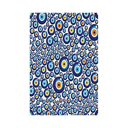 - Polyester Garden Flag Outdoor Flag House Flag Banner,Evil Eye,Traditional Turkish Charm Luck Sign Pattern Vivid Bead Figures Graphic,Blue Orange Yellow,for Wedding Anniversary Home Outdoor Garden Deco