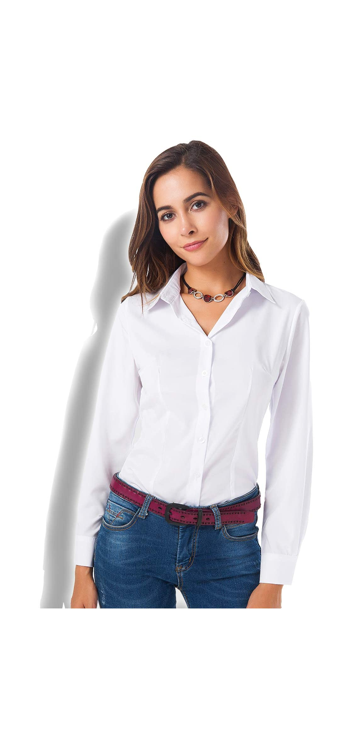 Womens Basic Long Sleeve Button Down Shirts Simple