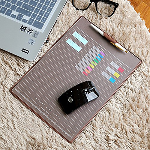 (ELSKY Office Mouse Mat for Computer or laptop,Gmaing Mouse Pads/Mouse&Desktop Protector/Keyboard Pad,Drawing & Writing Pad with Card Schedule Pockets,Cover With 2 Transparent Sheets for Mamo (Coffee))
