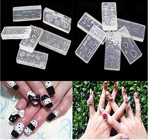 teanfa 6pcs 3d acrílico resistente molde de silicona para DIY uñas decoración diseño color al azar: Amazon.es: Juguetes y juegos