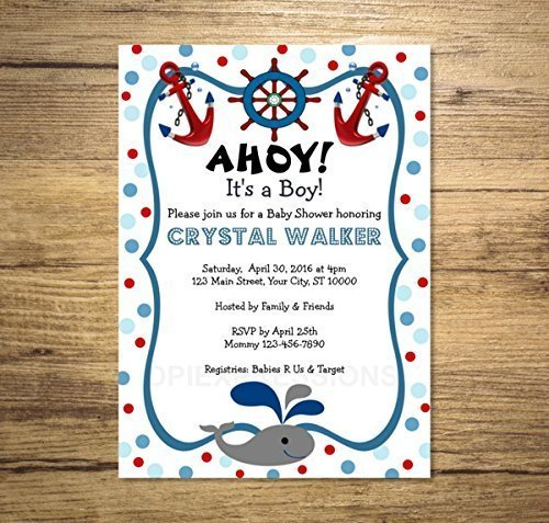 Nautical Baby Shower Invitation, Custom Baby Whale Nautical Theme Baby Shower Invite, Blue and Red Polka Dots