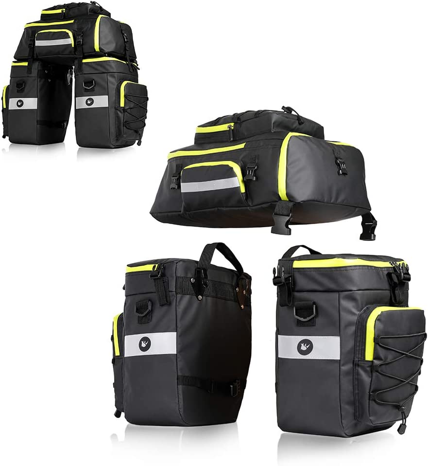 75L Bicycle Pannier Bag 3 in 1 Waterproof Bike Bag Rear Rack Bici Bags for Cycling Travel with Rain Cover