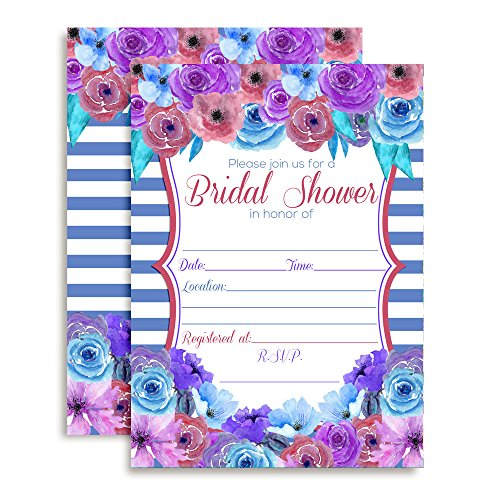 Pink, Purple & Blue Watercolor Floral Bridal Shower Fill In Invitations set of 10 including envelopes