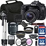 Canon EOS 80D Digital SLR Camera + 18-55mm STM + SD Card Reader + 64GB Memory + Remote + Accessory Bundle - International Version