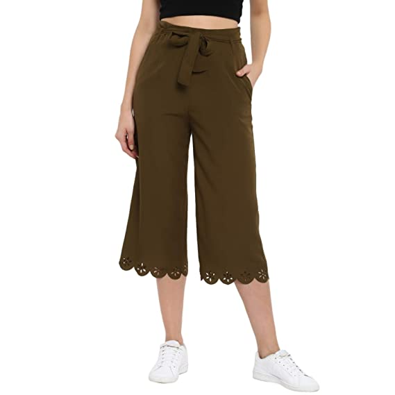 Spotstyl Green Olive Laser Cut Wide Leg Pants With Slits Bottoms For
