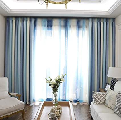 Pureaqu Room Darkening Modern Style Thermal Insulated Living Room Curtains  Metal Grommet Top Blue Striped Blackout