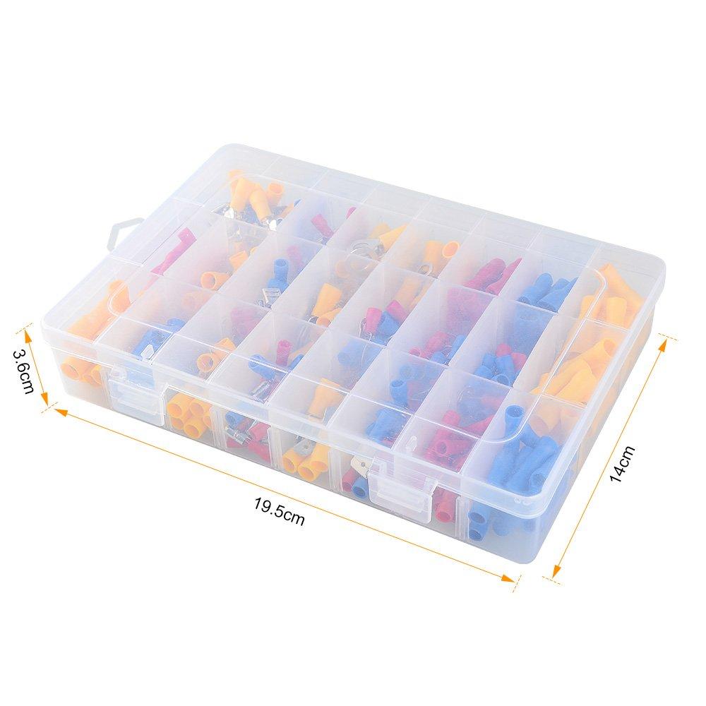 Asiv 300pcs Surtido Cobre Terminales de alambre aislados Conectores de crimpado Espada Conjunto en una caja transparente estable