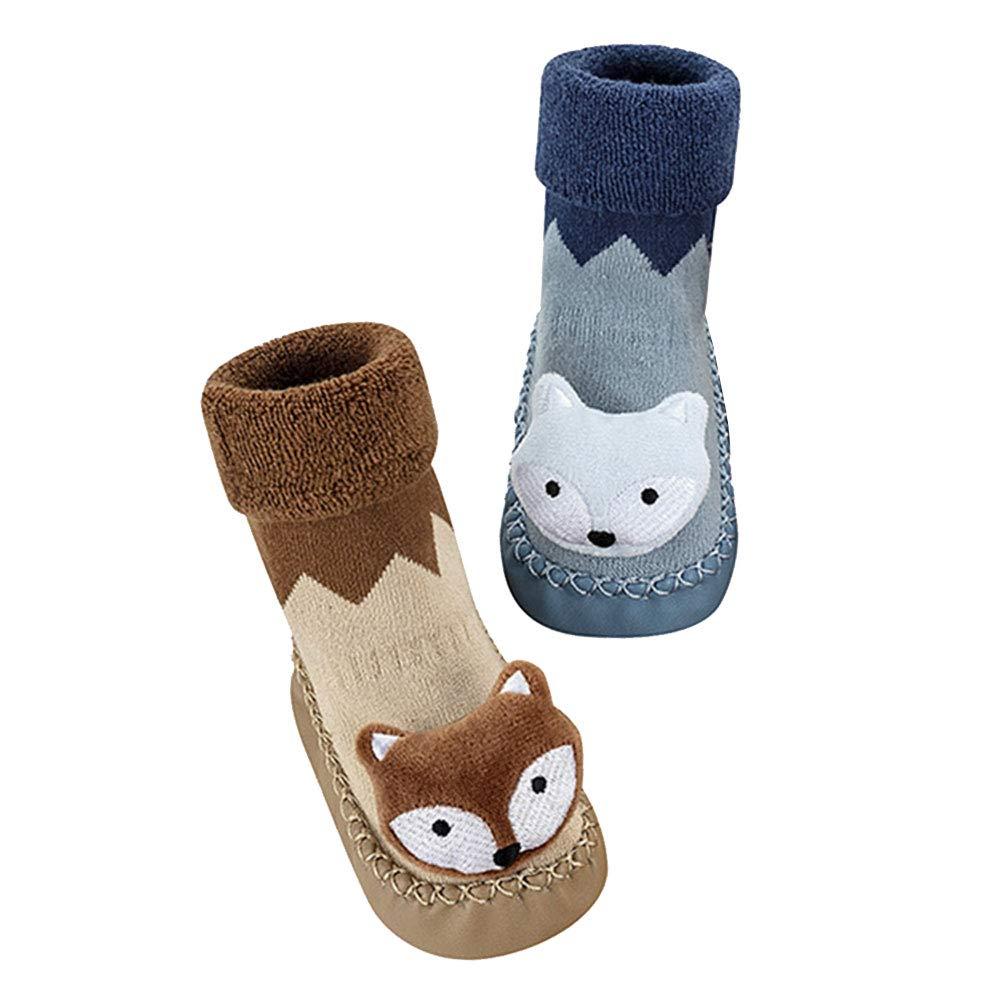 YFCH 2 Pairs Infant Baby Girls Boys Cartoon Fox Slipper Socks Shoes Cotton Thick Warm Anti-Slip First Walker 6-24 Months YFCH-F5328