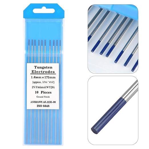 175mm 10Pcs WY20 2.0/% Pointe Bleu d/Électrode de Tungst/ène pour le Soudage TIG 1.6mm