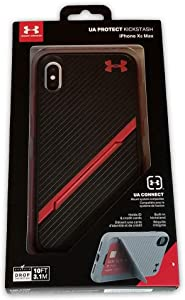 Under Armour Phone Case | for Apple iPhone Xs MAX | Under Armour UA Protect Kickstash Case with Rugged Design and Drop Protection - Graphite/Black (Black-Red Stripe, XS MAX)