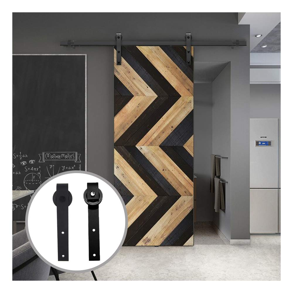 Black J Shaped Hangers LWZH 7FT Sliding Wood Barn Door Steel Hardware Kit for Single Door