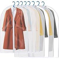 GEEDIAR Housses de Vêtements, Lot DE 6/8 Couverture Lavable Transparent Etanche Anti-Poussière Protection pour Chemise Costume Sac de Vêtement avec Zip