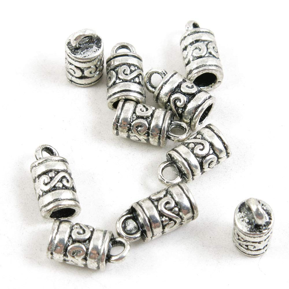 1690 Pieces Antique Silver Tone Jewelry Making Charms Crafting Beading Craft 46627 Texture Bail Cord Ends Caps