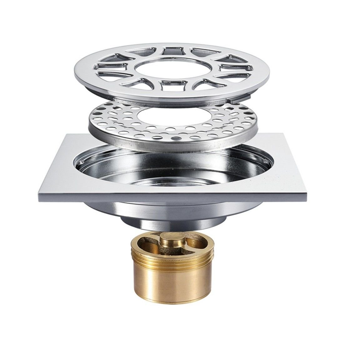 LINA bathroom accessories Copper Chrome anti-smelly floor drain large displacement washing machine special floor drain
