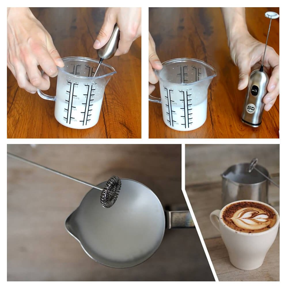 HBT Milk Frother Mixer Handheld Espresso Stirrers - Frothing Wand Battery Operated Electric Foam Maker for Coffee|Latte|Cappuccino|Hot Chocolate - Home Gifts Stainless Steel with Free Spoon|Ebook by HBT (Image #4)