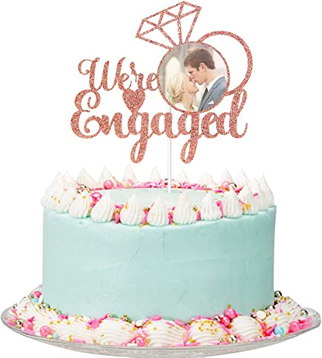 We/'re Engaged Cake Topper Engagement Wedding Gold Silver Rose Gold