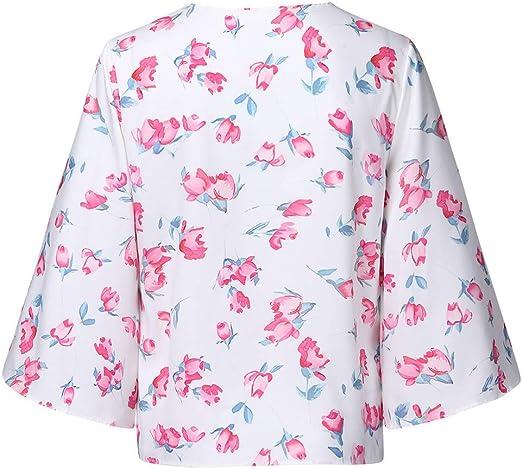 OPAKY Camisas Mujer Blusa Cuello V Manga Larga Classics Casuales ...