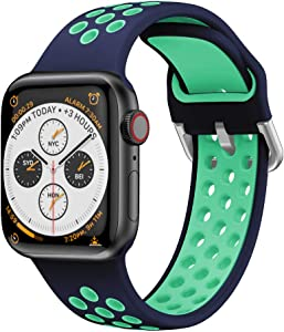 YPSNH Bands Compatible with Apple Watch 38mm 40mm 42mm 44mm, Soft Silicone Breathable Replacement Wristband Sport Strap Men and Women for iWatch Series 6/5/4/3/2/1 (Blue/Teal, 38mm/40mm)