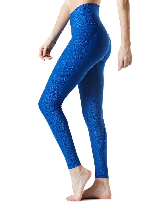 TSLA Yoga Pants Leggings Mid-Waist/High-Waist Tummy Control w Pocket Series, Pocket Contour(fyp54) - Blue, Medium [Size 8-10_Hip39-41