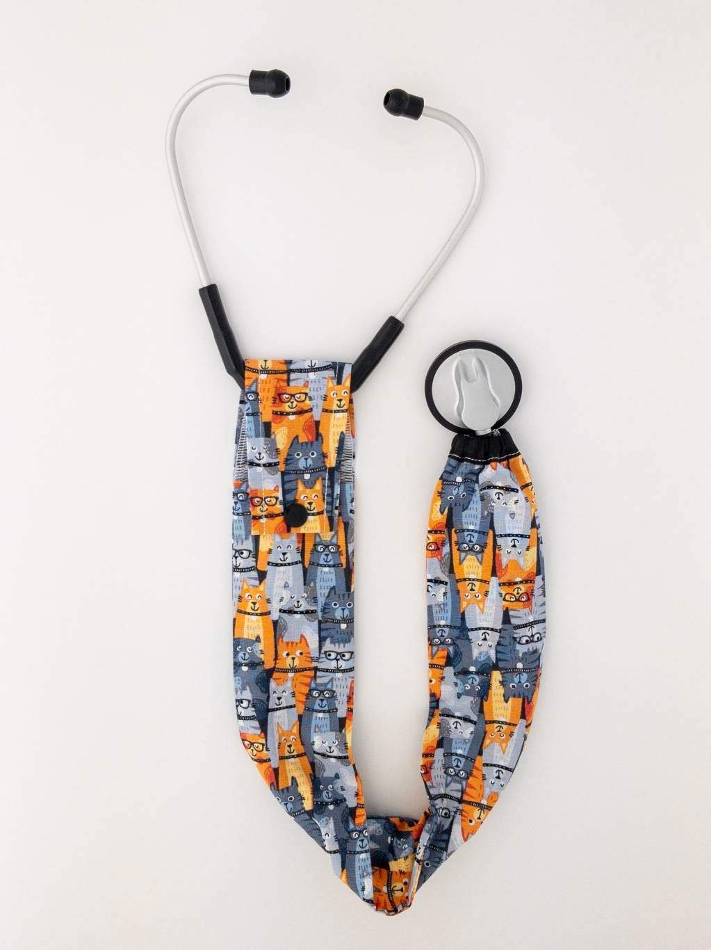 Elastic Bottom Rows of Cats in Glasses Stethoscope Cover
