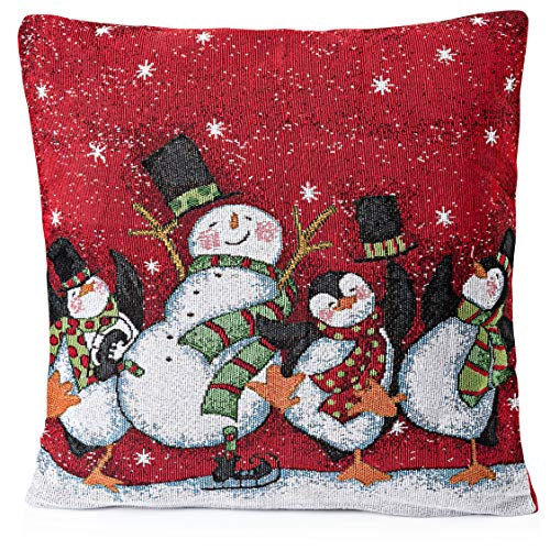 Christmas Pillow Covers 18 x 18 (Set of 2)- Snowman Pillow Throw Decor, Holiday Season Decorations for Couch, Chair, Sofa - 18 x 18 Inches