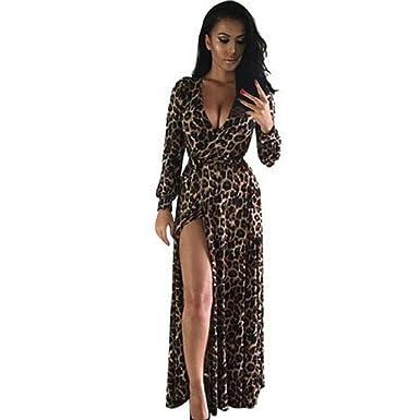 Yogogo Frauen mit V-Ausschnitt Langarm Kleid Nachtclub Leopard ...