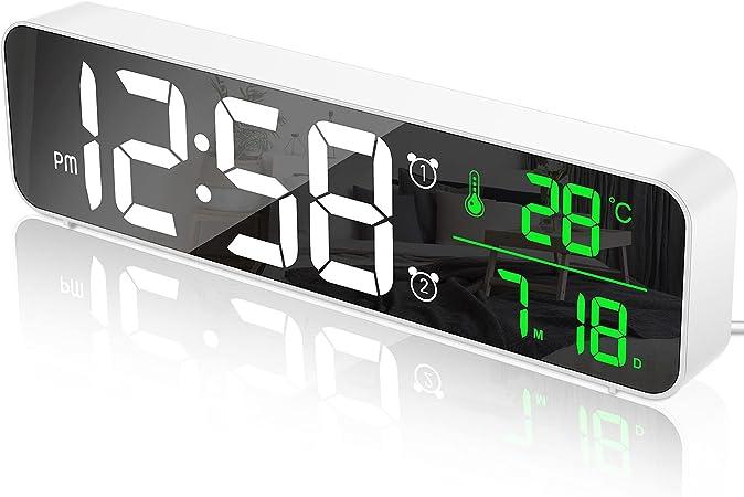 Color : Blue FCS Wecker Digital LED Wecker Spiegel USB-Ladeanschluss Multifunktions gro/ßen LCD-Schirm Tischuhr mit Temperatursnooze-Tischuhr