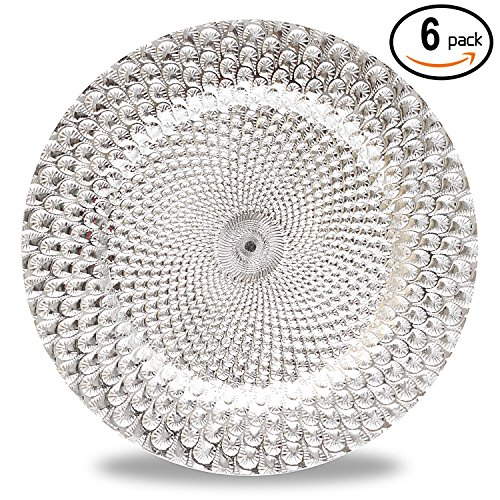 Silver Charger Plate (Fantastic:) 6pcs/Set New Claassic Design Round 13