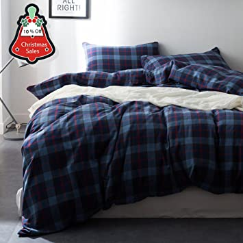 Hotel Plaid Flannel Duvet Cover Twin Size 3 Pieces Comforter Cover Sets  Blue Grid Pattern Printed