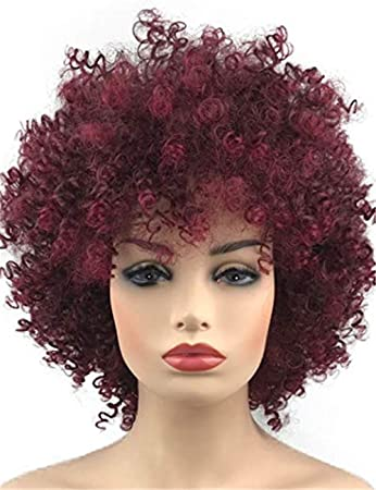 Amazon Com Topwigy Wine Red Curly Wig Afro Kinkys Curly Hair Short
