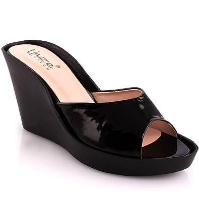 ecc04e0115a Unze New Women Ladies  Zaurita  Slip On Mid High Wedge Heel Casual Platform Sandals  Shoes Size 3-8