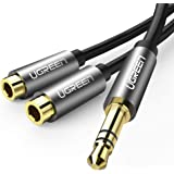 UGREEN 3.5mm Audio Stereo Y Splitter Extension Cable 3.5mm Male to 2 Port 3.5mm Female for Earphone, Headset Splitter Adapter, Compatible for iPhone, Samsung, LG, Tablets, MP3 Players