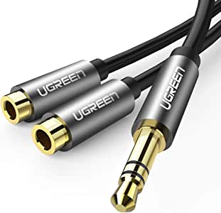UGREEN 3.5mm Audio Stereo Y Splitter Extension Cable 3.5mm Male to 2 Port 3.5mm Female for Earphone, Headset Splitter Adapter, Compatible for iPhone 11/11 Pro/11 Pro, Samsung, LG, Tablets, MP3 players