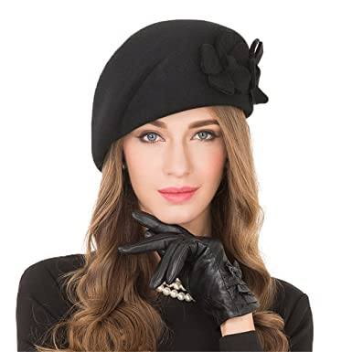 13a3d92fda99e Elegant Black Female 100% Wool Flower Fedora Hat Vintage Winter Women Felt  Beret Hats