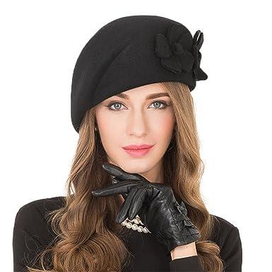 390c4934f84 Elegant Black Female 100% Wool Flower Fedora Hat Vintage Winter Women Felt  Beret Hats at Amazon Women's Clothing store: