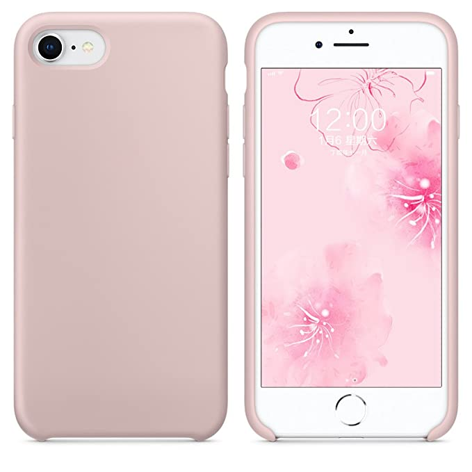 """Surphy Silicone Case For I Phone 8 I Phone 7 Case, Soft Liquid Silicone Slim Rubber Protective Phone Case Cover (With Microfiber Lining) For I Phone 7 I Phone 8 4.7"""", Pink Sand by Surphy"""