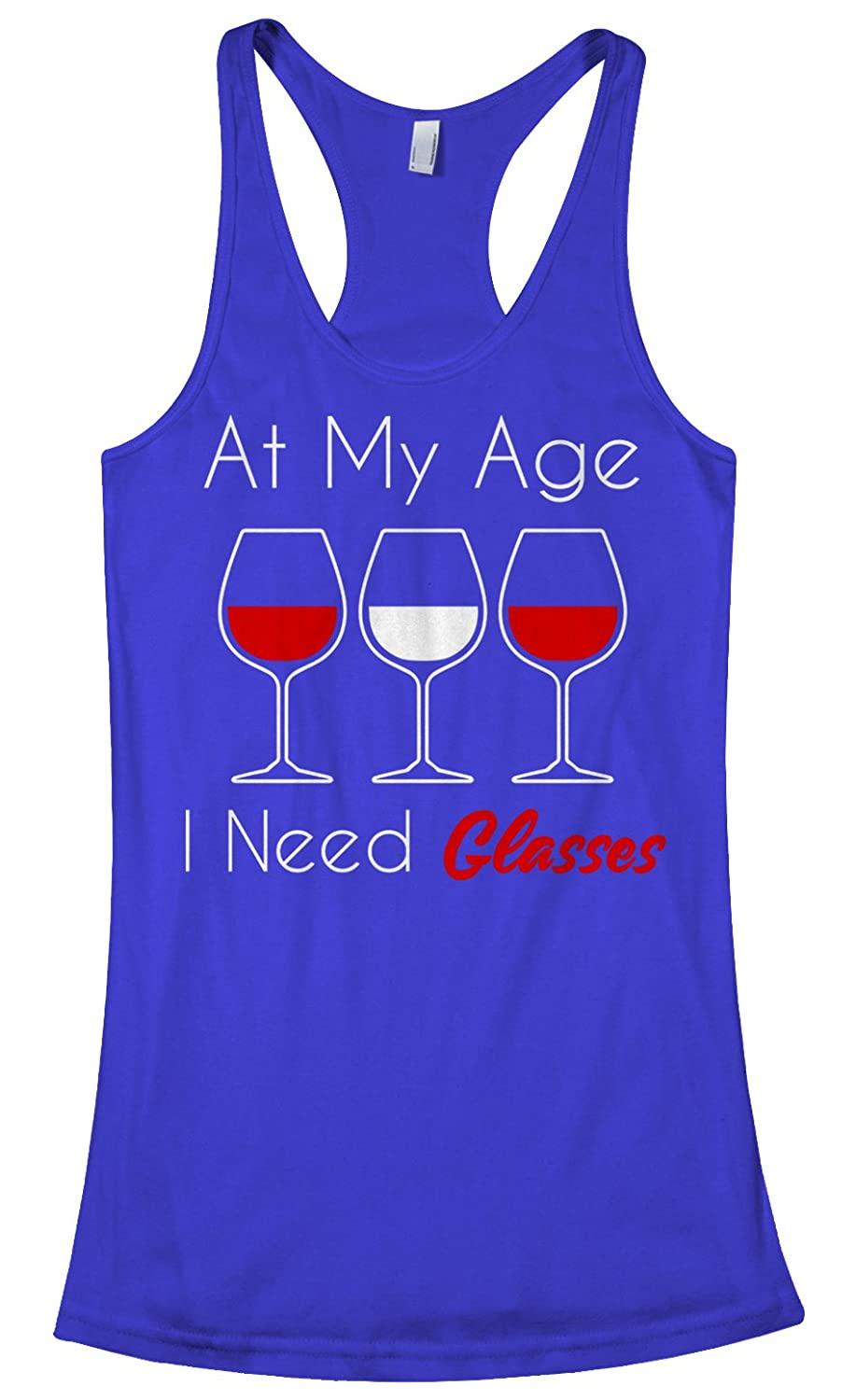 b0ff1e282931 Amazon.com  Threadrock Women s at My Age I Need Glasses Racerback Tank Top   Clothing