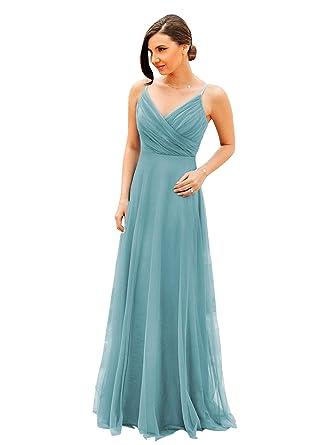 metà fuori a2471 c8a48 Ever-Pretty Vestito da Damigella d'Onore per Matrimonio Lungo Scollo a V  Cinghie Regolabili 07369
