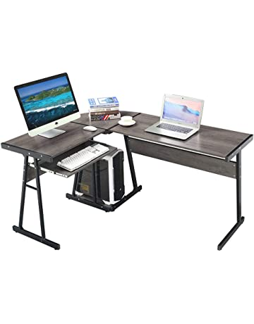 GreenForest L Shaped Corner Desk For Home Office Workstation Laptop Table  With Keyboard And CPU,