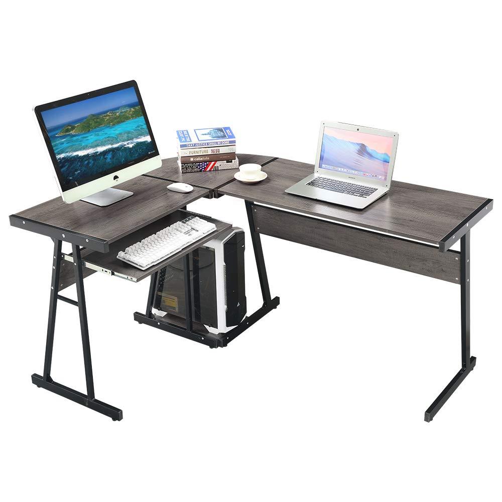 GreenForest Office Desk Corner L Shaped Workstation Laptop Table with Keyboard,Walnut