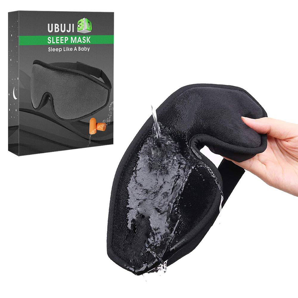 3D Ergonomic Eye Mask for Sleeping - No Pressure Design Sleeping Mask, A Blindfold Scientifically Proven Helps to Fall Asleep, Super Soft & Comfortable Sleep Mask for Women & Men - Black with Earplug