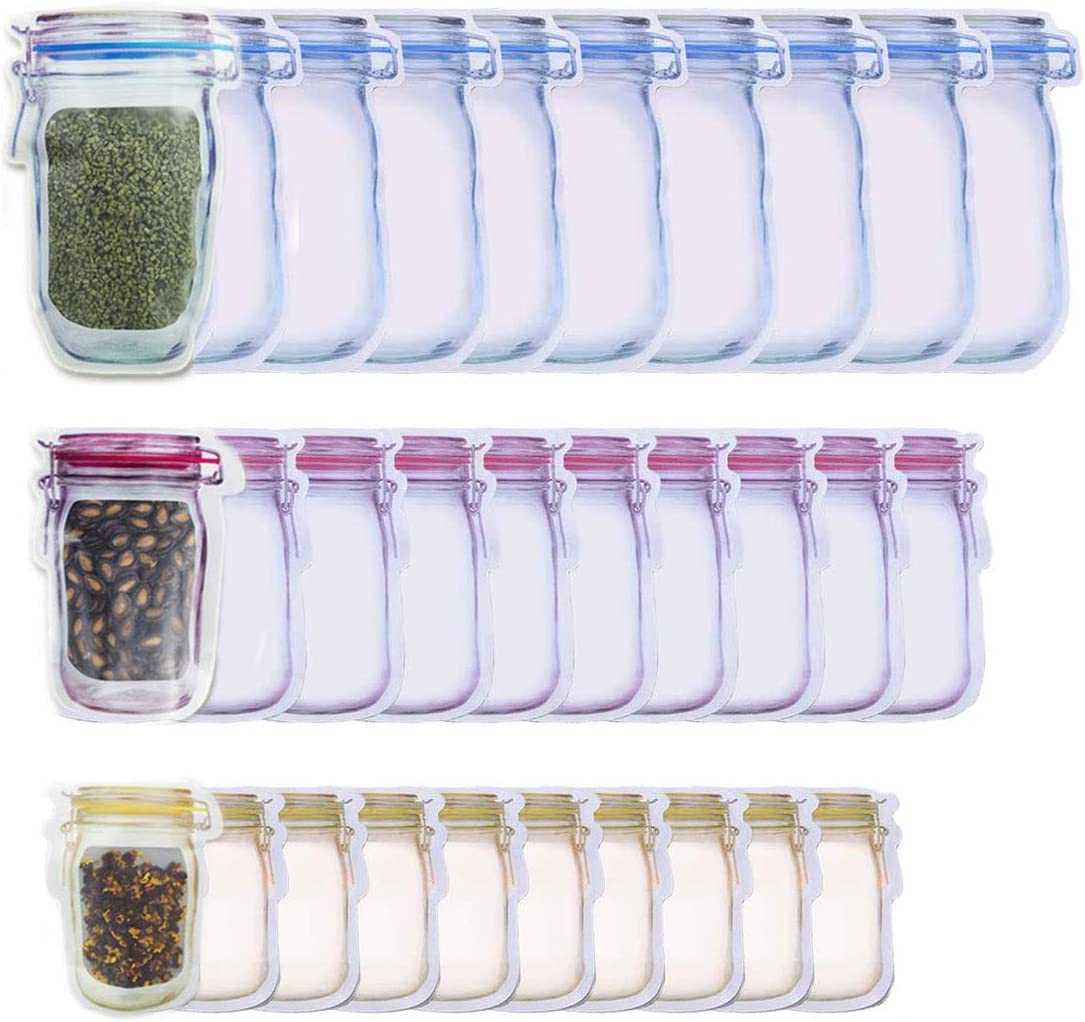 30 Pack Mason Jar Zipper Bags, Food Storage Snack Ziplock Bags - Reusable Airtight Seal Food Storage Bags, Leak-Proof Tea Bags Refrigerator Organizor Kitchen Storage Outdoor Travel Picnic Bags